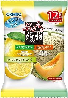 オリヒロ ぷるんと蒟蒻ゼリーパウチ シチリアレモン+北海道メロン 20gx12個