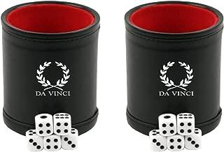 Da Vinci Professional Dice Cup with 5 Dice. Black Leatherette Exterior with Velvet Interior