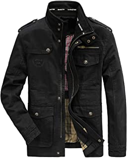Men's Classic Jacket Pure Cotton Military Jacket Multi-Pocket Casual Coat