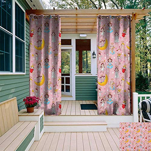 leinuoyi Angel, Sun Zero Outdoor Curtains, Fairies Playing Music Halo Cheerful Supernatural Creatures Nursery Theme, for Patio Furniture W96 x L96 Inch Earth Yellow Pale Pink