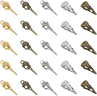 PandaHall Elite 50 Pcs Tibetan Style Alloy Phantom Raven Bird Skull Head Pendant Charms 5 Styles for Necklace Jewelry Making 3 Colors