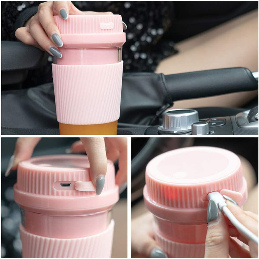 Glove Botella licuadora portátil Eletric Inalámbrico 300ml Mini exprimidor Personal para la Oficina en casa Viajes Regalo Deportivo, Rosa y Azul Marino Pink&navy