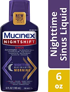 MUCINEX Nightshift Sinus 6 fl. oz. Relieves Fever, Sore Throat, Runny Nose, Sneezing, Nasal Congestion, and Controls Cough