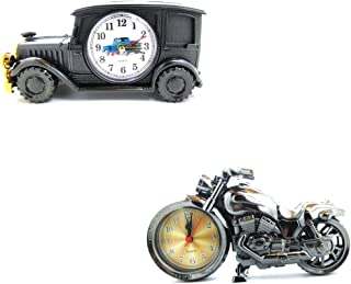 Leather&Arts 2 Pack Motorcycle and Vintage Car Electronics Alarm Clock Model Home Decor