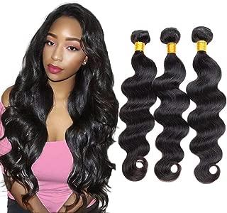 Bex Body Wave Hair Bundles 16 18 20 Total 300g - 100% Unprocessed Brazilian Human Hair Weave 10a Grade Body Wave Bundles with Closure-Natural Black Color (16 18 20)