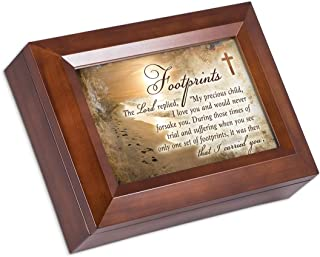 Cottage Garden Footprint in The Sand Poem Wood Finish Jewelry Box Plays Amazing Grace