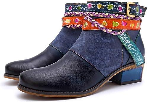 Bottes pour Femmes Ceinture en Denim Fait à la Main en Cuir très Confortable Bottes pour Femmes,Chaussures de Cricket (Couleur   bleu, Taille   38EU)