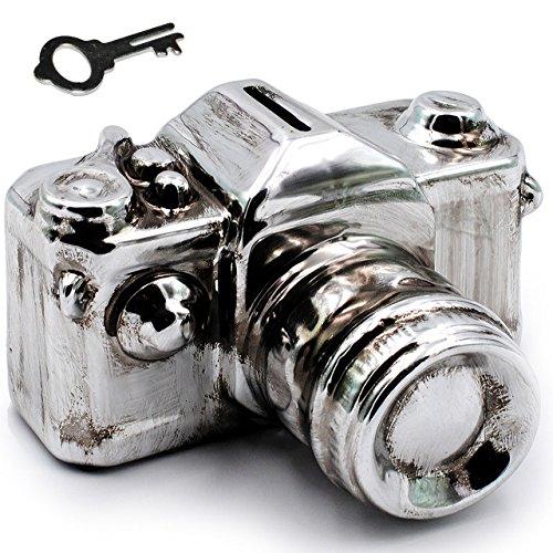 alles-meine.de GmbH XL Spardose -  Kamera / Fotoapparat / Spiegelreflexkamera - Silber  - mit Schlüssel & Schloß - stabile Sparbüchse aus Porzellan / Keramik - Sparschwein Lust..