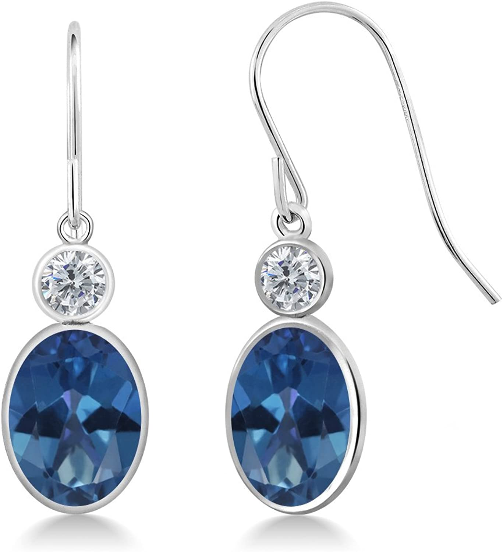 2.80 Ct Oval bluee Mystic Topaz G H Diamond 14K White gold Earrings