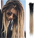 Dreadlock Extensions Syntheic Dreadlocks Handmade Fake Dread Extension for Women Men Reggae Hip-hop Twist Crochet Braiding Long Single Ends Braids Hairpiece 24 inch Black+ Blonde 30 Strands