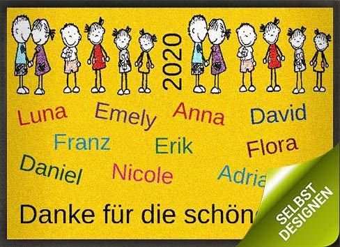 mymat Fußmatte Danke Kinder zum Personalisieren - als Abschiedsgeschenk für Lehrer, Erzieher, Kindergarten, Kita