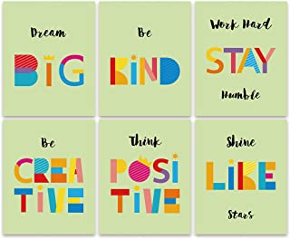 SIGNWIN Set of 6 Prints Unframed Poster Colorful Rainbow Bold Color Wall Art Kids and Nursey Photos for Bedroom Kids Room...