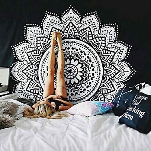 KHKJ Tapiz de Mandala Blanco Hippie Colgante de Pared Colcha Bohemia Funda de sofá decoración Mandala DIY hogar A11 95x73cm