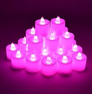 Samyo Set of 24 Battery Flameless & Smokeless LED Tealight Candles - Pink/Purple Candlelight