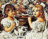 Pintar por Números Adultos y Niños Retrato de niña DIY Pintura al Óleo por Números Lienzo 40*50cm(Sin Marco) Decoración del Hogar Pared