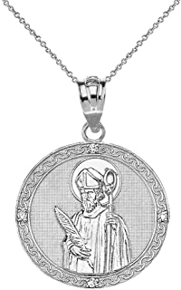 Sterling Silver St. Valentine of Rome CZ Round Medal Pendant Necklace (1