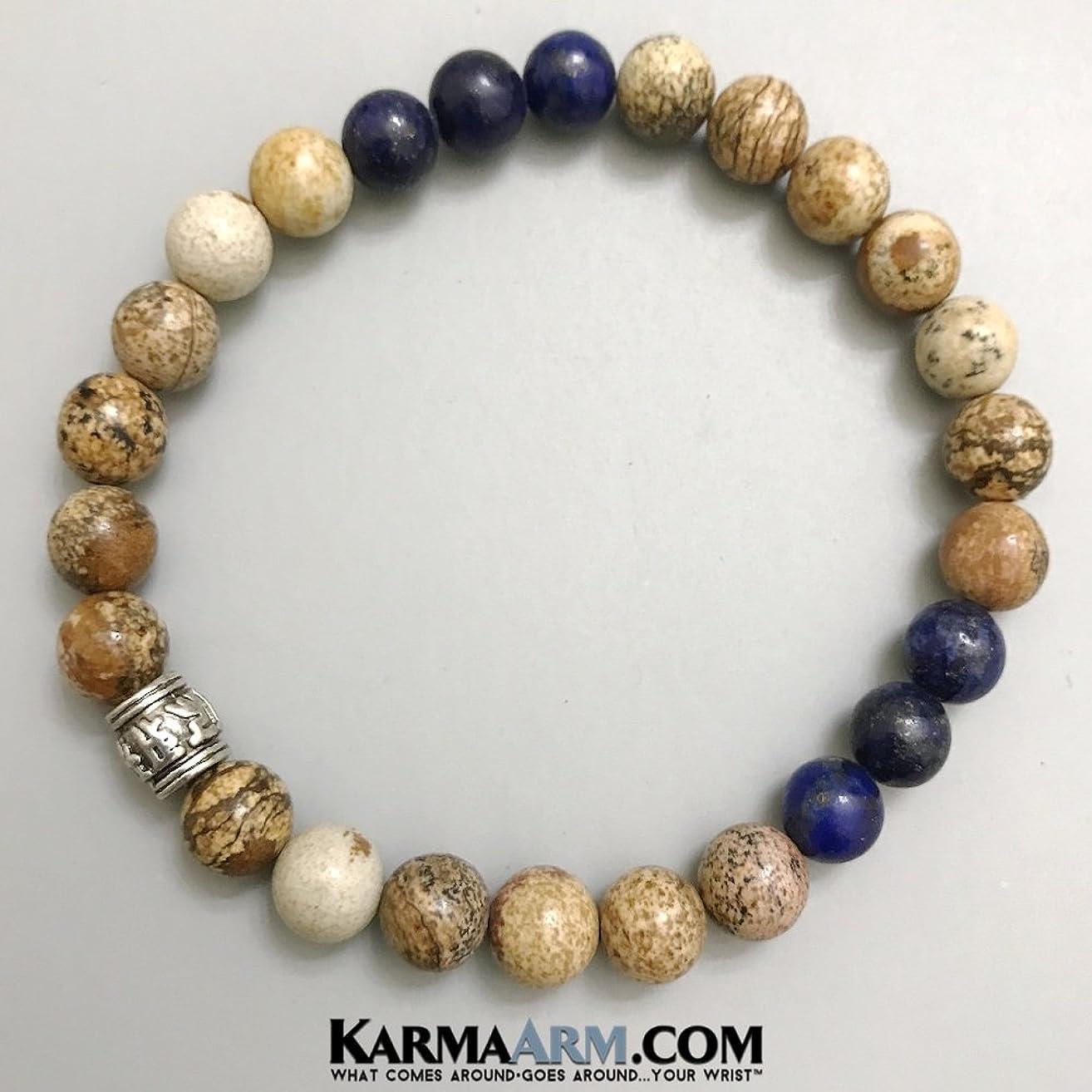 BUDDHIST MANTRA Om Mani Padme Hum Mantra Wheel: Picture Jasper   Lapis Yoga Chakra Bracelet Yoga Jewelry, Reiki Healing Bracelets Meditation Jewelry Beaded Bracelets Stretch Bracelets