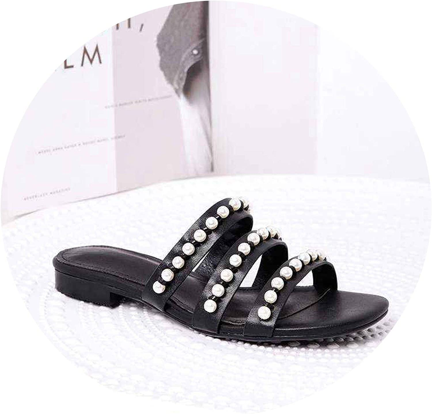 Monicas-Dream 2019 Natural Leather Low Heels Pearls Decoration peep Square Toe Women Sandals Sweety Dating shoes