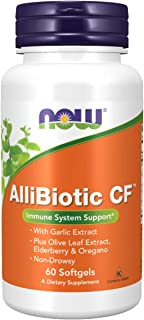 NOW Supplements, AlliBiotic CF™, with Garlic Extract, Olive Leaf Extract, Elderberry & Oregano, Non-Drowsy Formula, 60 Sof...