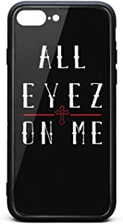 iPhone 7 Plus/iPhone 8 Plus Case Tupac-Shakur-All-Eyez-on-Me-7- Shockproof Tempered Glass Back Cover Soft TPU Bumper Shell for iPhone 7 Plus/iPhone 8 Plus
