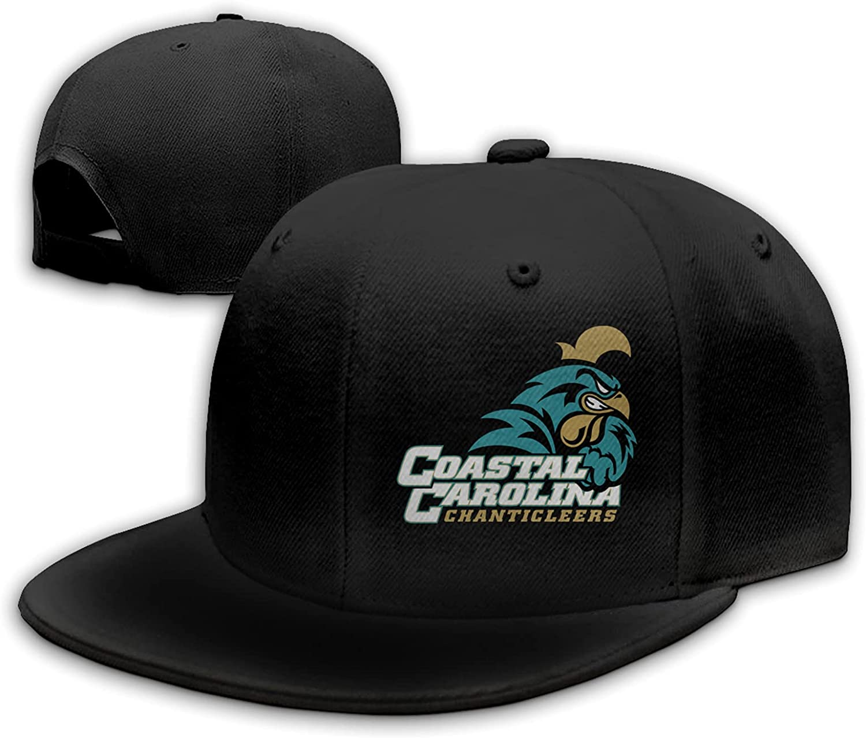 Coastal Carolina University Logo Adjustable Flat Brim Hat, Outdoor Hat, Unisex Sports Baseball, Trucker Hat Black
