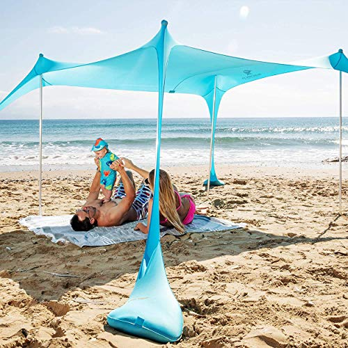SUN NINJA Pop Up Beach Tent Sun Shelter UPF50+ with Sand Shovel, Ground Pegs and Stability Poles, Outdoor Shade for Camping Trips, Fishing, Backyard Fun or Picnics (7x7.5FT 4 Pole, Turquoise)