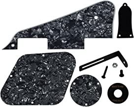 FLEOR 4Ply Black Pearl Pickguard Back Plate Screws Set & Switch Ring & Truss Rod Cover Plate & Black Bracket Fit Gibson Les Paul Pickguard Replacement