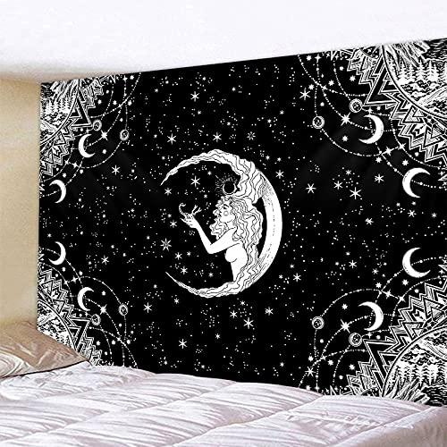 PPOU Blanco Negro Sol Luna Mandala Tapiz Colgante de Pared brujería Hippie Tela de Fondo Manta de Pared A19 73x95cm