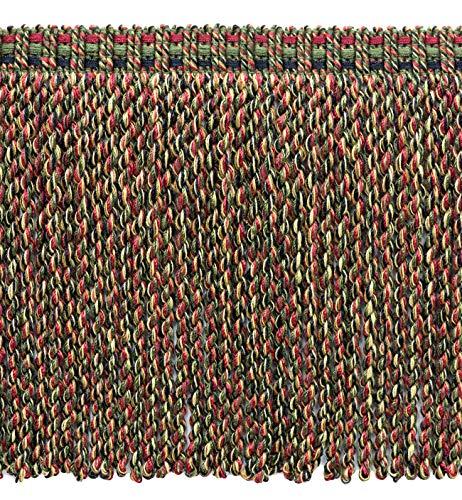 DecoPro Contemporain, Modern|Red, Vert Olive, Noir, Jaune Gold|76 mm décoratifs Lingot Fringe|Sold au mètre (91 cm) |Style # : Bfv6|Color : Vnt19 – Rouge, Vert, Noir