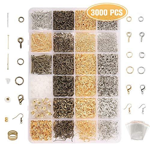 Jeteven® 3000tlg Schmuck Basteln Zubehör Schmuckherstellung Kit Accessoires Set für Ohrringe Armband Halskette DIY Anfänger, Bronze Silber Gold, inkl.Verpackungskasten, Schutzring, OPP-Tasche
