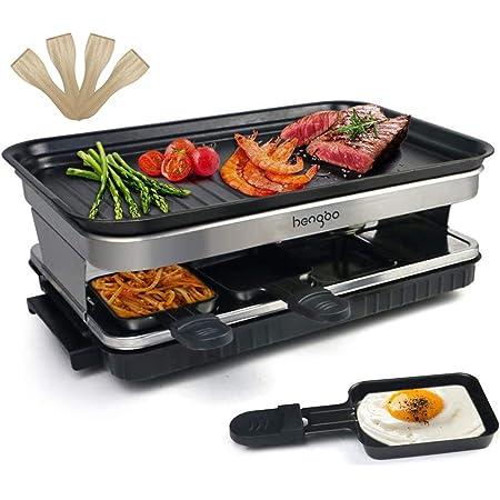 Raclette avec Anti-adhésives de Poignées 8 Poêlons pour 8 Personnes Isolation Thermique 1500 W Noir