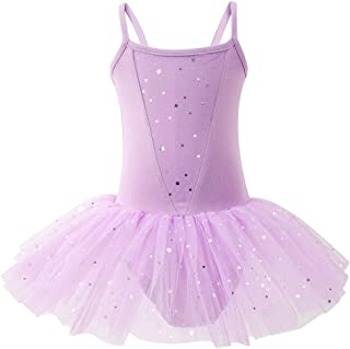 Kids Girls Dance Outfits Tulle Spliced Ballet Leotard One-Piece Romper Dress Birthday Party Princess Tutu Skirt (2-7T)