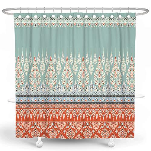 DESIHOM Boho Shower Curtain Bohemian Tribal Shower Curtain Aztec Shower Curtain Damask Paisley Shower Curtain Moroccan Shower Curtain Polyester Waterproof Shower Curtain 72x72 Inch