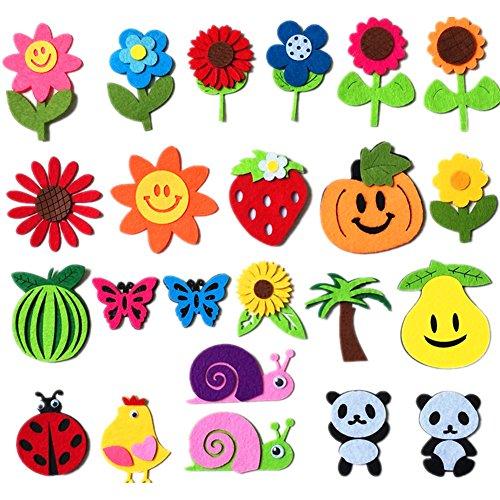 Set di applique in feltro a forma di frutta, animali in feltro per scrapbooking, adesivi in tessuto non tessuto, applique da cucire, feltrini da cucito per fai da te, artigianato e decorazione