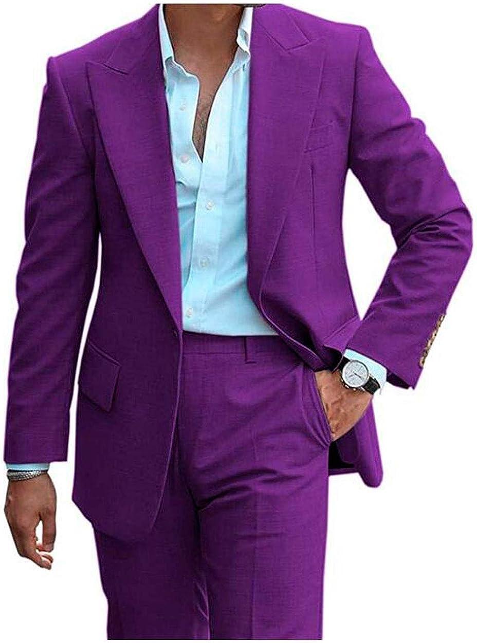 Men's Regular Fit Notch Lapel Suit One Button Wedding Tuxedos Prom Suits Jacket Pants Groomsmen Suit