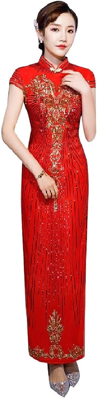 FieerWomen Evening Party Delicate Embroidered Premium Dress Cheongsam