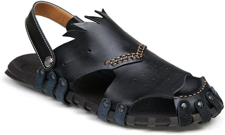 FFTX Men Leather Sandals Fashion Water shoes Summer Soft Sole Beach Slipper