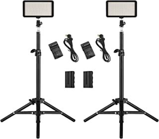Andoer LED Video Light Kit include 2pcs W228 3200K/6000K Bi-Color Dimmable LED Video Light+2pcs Max. 72cm Light Stand+2pcs...