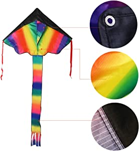 WANTKA Large Rainbow Delta Kite and Large Octopus Frameless Soft Parafoil Kites Easy Flyer Kite for Beach Park Garden Playground 2 Packs with Kite Handles