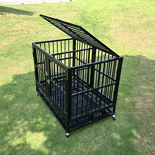 "walnest Dog Crate Kennel Playpen Cage with Removable Divider Panel Heavy Duty Pet Cage for Two Dogs w/Steel Tray Wheels with 2 Doors (37"", Black)"