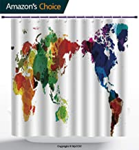 MyCCIC AM25737 Colorful Beautiful Shower Curtain/Rainbow Colored Wold Map Grunge Style Abstract Universal Peace Inspired ArtMulticolor