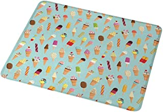 Gaming Mouse Pad Custom Design Mat Ice Cream,Mix of Yummy Dessert with Chocolate and Fruit Flavor Toppings Cones Illustration,Non-Slip Rubber Base Ideal for Keyboard,PC and Laptop 9.8