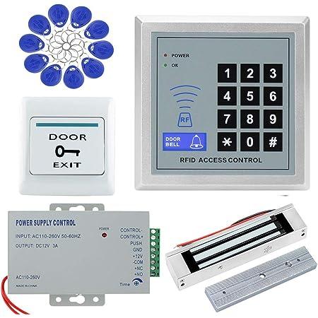 NN99 Kit de sistema de control de acceso de la puerta 125 KHz Teclado RFID + 180 KG Cerraduras magnéticas eléctricas + Fuente de alimentación de 12V + ...