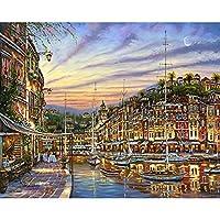 帆布の番号による海辺の都市の油絵手作りの風景大人のためのDIYクラフトキット額入りアクリル絵の具家の装飾