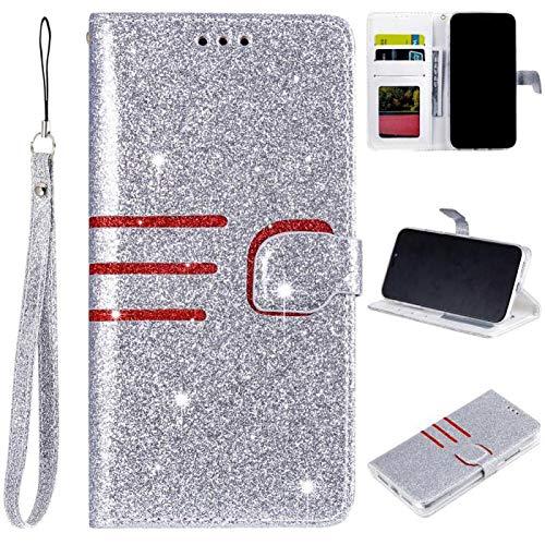 Stand Funktion für Samsung A10,Leder Bling Glitter Glitzer Diamond Musterg Slim Retro Modisch Karteneinschub Magnet Flip Wallet Hülle Schutzhülle