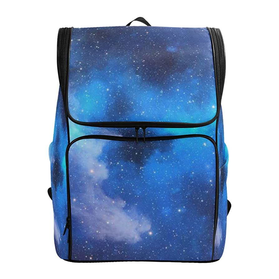 差別代替案潜在的なマキク(MAKIKU) リュックサック 大容量 星柄 星団 宇宙 ブルー リュック 軽量 メンズ 登山 通学 通勤 旅行 プレゼント対応