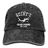 YISHOW Adult Unisex Cotton Jeans Cap Old-Fashion Adjustable Hat Quints Shark Fishing Jaws 7 Colors Available (Black)