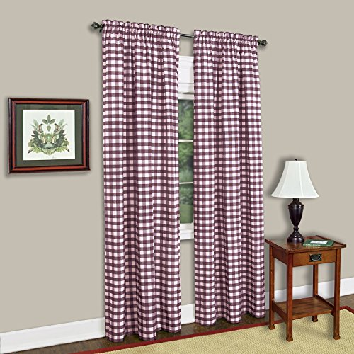 Achim Home Furnishings Single Panel Buffalo Check Window Curtain, 42' x 84', Burgundy & Ivory