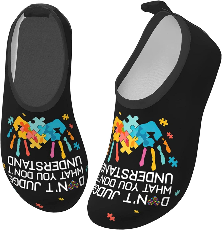 Bluebluesky Autism Awareness Day Kids Swim Water Shoes, Non-Slip Quick Dry Barefoot Aqua Pool Socks Shoes for Boys & Girls Toddler