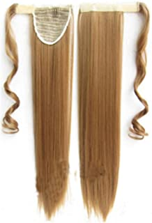 Hairpieces Hairpieces (Black, Dark Brown, Light Brown, Gold,) Human Hair Ponytail Extension Wrap 8 * 55cm and 100 Grams Long Straight Human Hair Silky Soft for Daily Use and Party (Color : Gold)